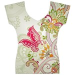 Floral Pattern Background Women s V-Neck Cap Sleeve Top Front