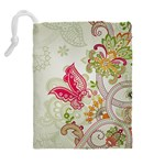 Floral Pattern Background Drawstring Pouches (Extra Large) Back