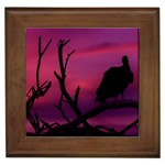 Vultures At Top Of Tree Silhouette Illustration Framed Tiles Front