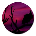 Vultures At Top Of Tree Silhouette Illustration Round Mousepads Front