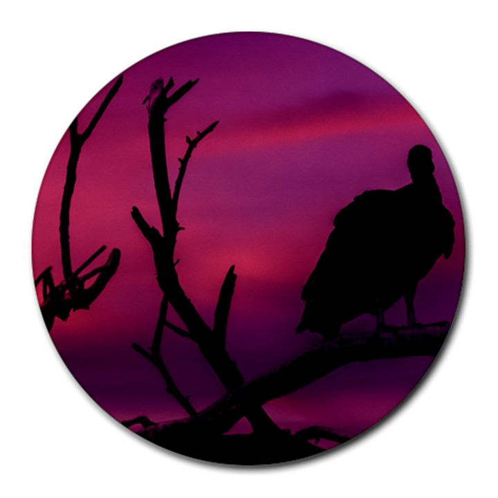 Vultures At Top Of Tree Silhouette Illustration Round Mousepads