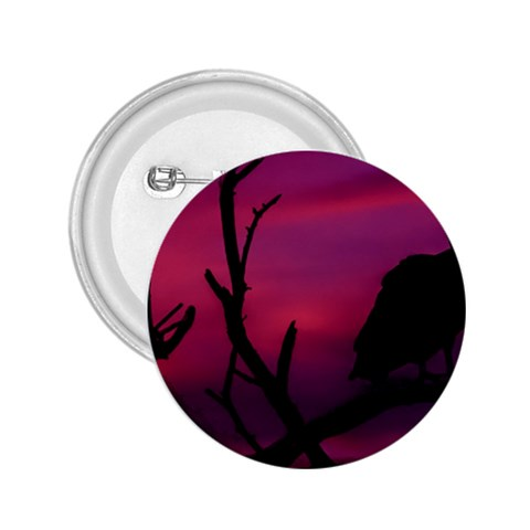 Vultures At Top Of Tree Silhouette Illustration 2.25  Buttons