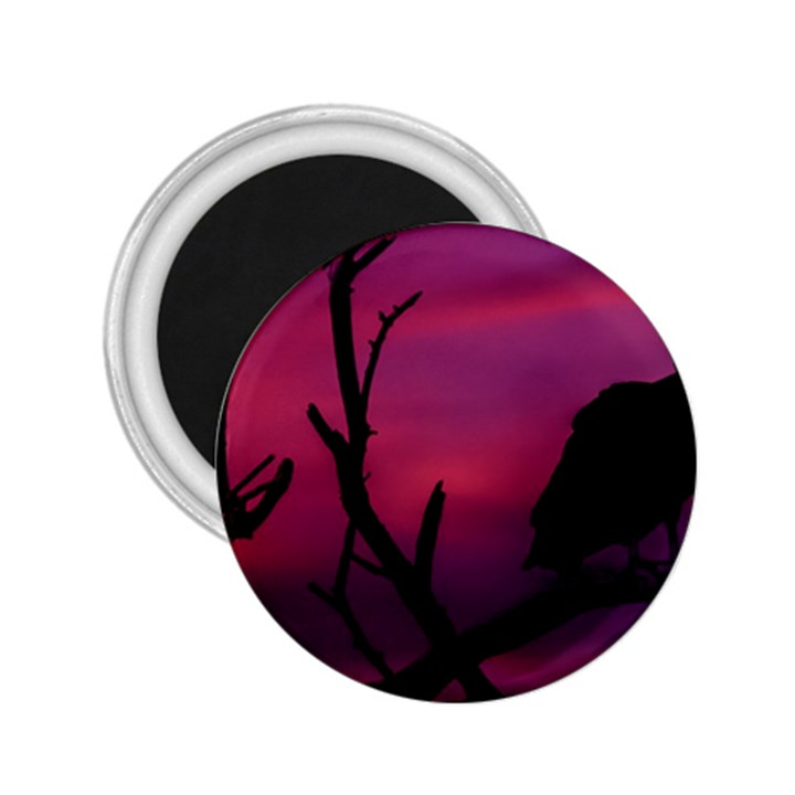 Vultures At Top Of Tree Silhouette Illustration 2.25  Magnets