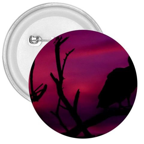 Vultures At Top Of Tree Silhouette Illustration 3  Buttons