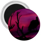 Vultures At Top Of Tree Silhouette Illustration 3  Magnets Front