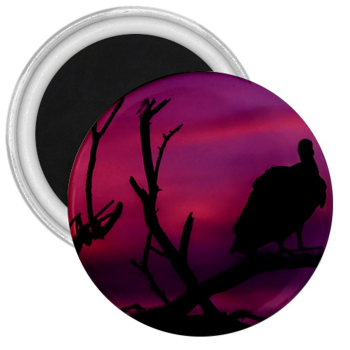 Vultures At Top Of Tree Silhouette Illustration 3  Magnets