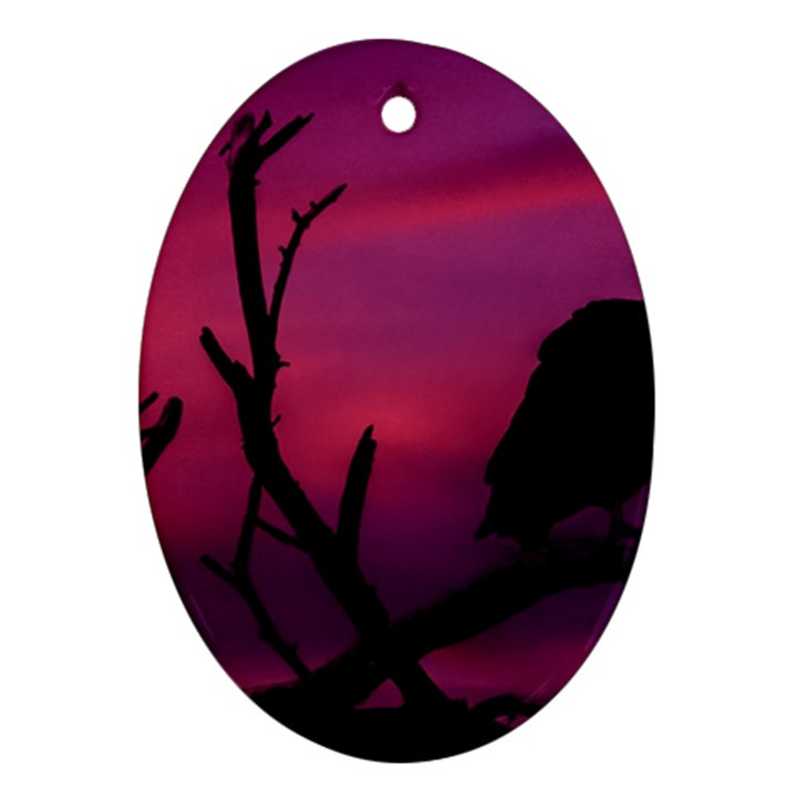 Vultures At Top Of Tree Silhouette Illustration Ornament (Oval)