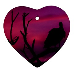 Vultures At Top Of Tree Silhouette Illustration Ornament (heart)
