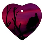 Vultures At Top Of Tree Silhouette Illustration Ornament (Heart)  Front