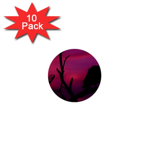 Vultures At Top Of Tree Silhouette Illustration 1  Mini Buttons (10 pack)