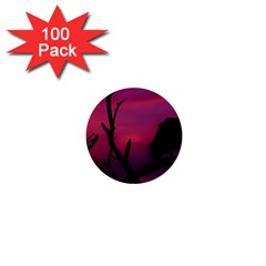 Vultures At Top Of Tree Silhouette Illustration 1  Mini Buttons (100 Pack)