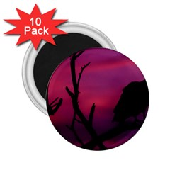 Vultures At Top Of Tree Silhouette Illustration 2.25  Magnets (10 pack)