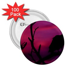 Vultures At Top Of Tree Silhouette Illustration 2.25  Buttons (100 pack)