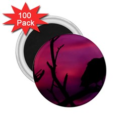 Vultures At Top Of Tree Silhouette Illustration 2.25  Magnets (100 pack)