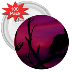 Vultures At Top Of Tree Silhouette Illustration 3  Buttons (100 pack)