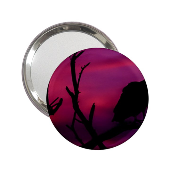 Vultures At Top Of Tree Silhouette Illustration 2.25  Handbag Mirrors