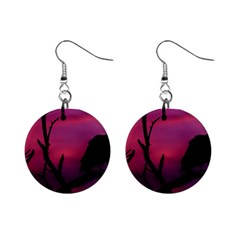 Vultures At Top Of Tree Silhouette Illustration Mini Button Earrings