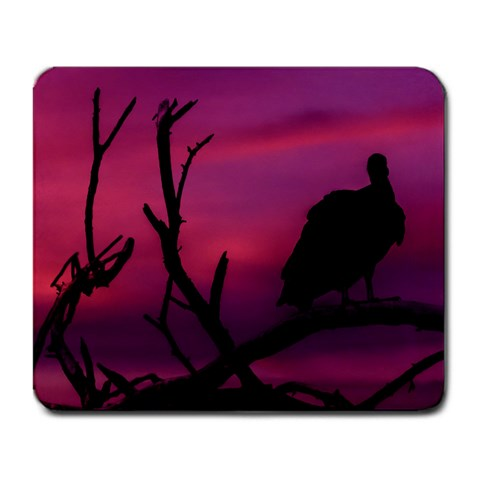 Vultures At Top Of Tree Silhouette Illustration Large Mousepads