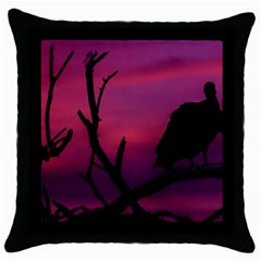 Vultures At Top Of Tree Silhouette Illustration Throw Pillow Case (Black)
