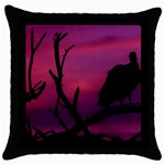Vultures At Top Of Tree Silhouette Illustration Throw Pillow Case (Black) Front