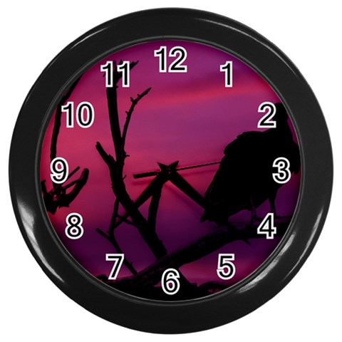 Vultures At Top Of Tree Silhouette Illustration Wall Clocks (Black)