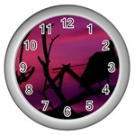 Vultures At Top Of Tree Silhouette Illustration Wall Clocks (Silver)  Front