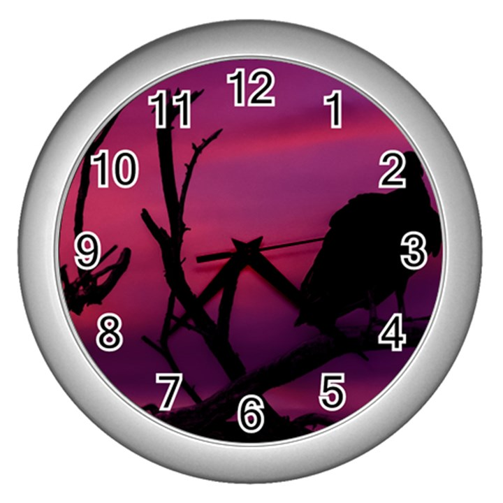 Vultures At Top Of Tree Silhouette Illustration Wall Clocks (Silver)