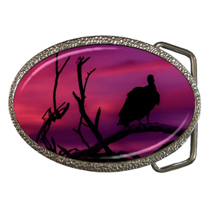 Vultures At Top Of Tree Silhouette Illustration Belt Buckles