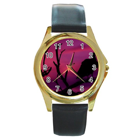 Vultures At Top Of Tree Silhouette Illustration Round Gold Metal Watch