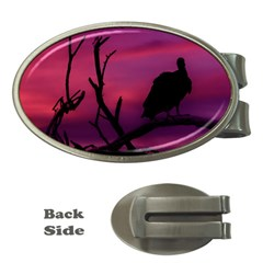 Vultures At Top Of Tree Silhouette Illustration Money Clips (Oval)