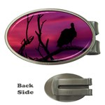Vultures At Top Of Tree Silhouette Illustration Money Clips (Oval)  Front
