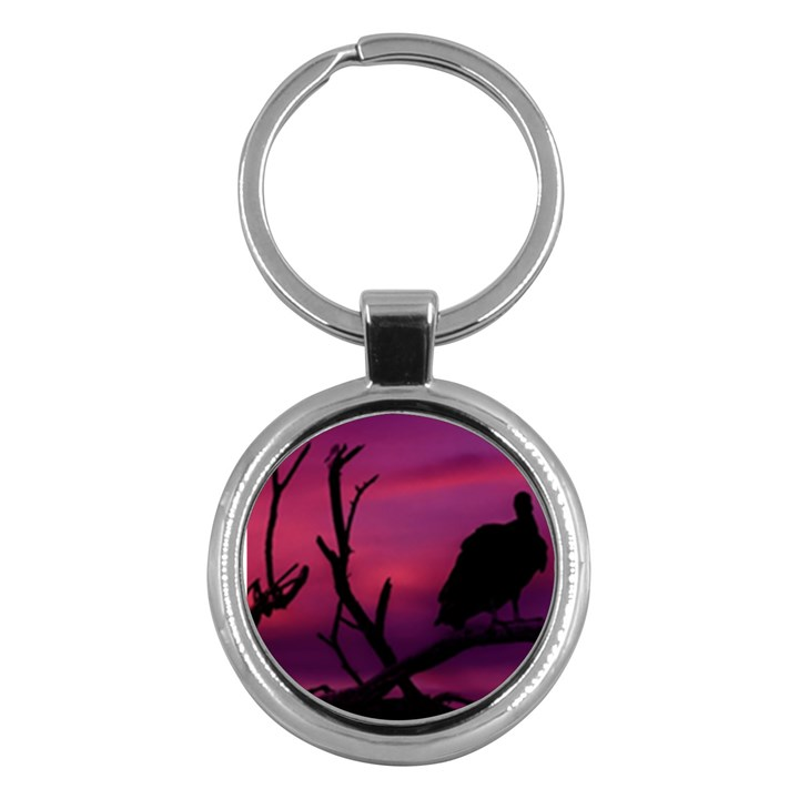 Vultures At Top Of Tree Silhouette Illustration Key Chains (Round)