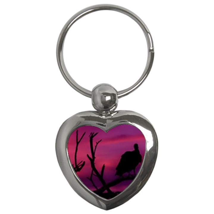 Vultures At Top Of Tree Silhouette Illustration Key Chains (Heart)
