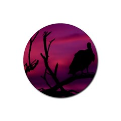 Vultures At Top Of Tree Silhouette Illustration Rubber Coaster (round)