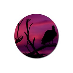 Vultures At Top Of Tree Silhouette Illustration Magnet 3  (Round)