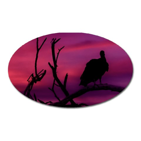 Vultures At Top Of Tree Silhouette Illustration Oval Magnet