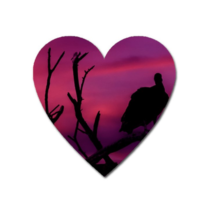 Vultures At Top Of Tree Silhouette Illustration Heart Magnet