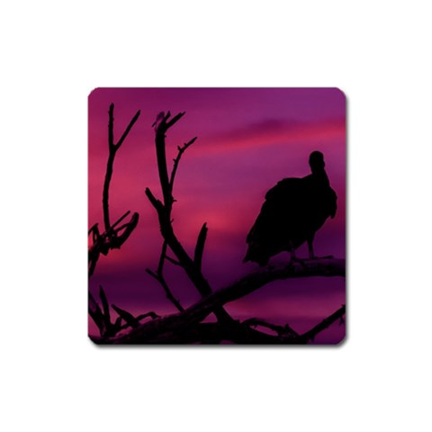Vultures At Top Of Tree Silhouette Illustration Square Magnet