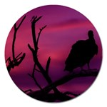 Vultures At Top Of Tree Silhouette Illustration Magnet 5  (Round) Front