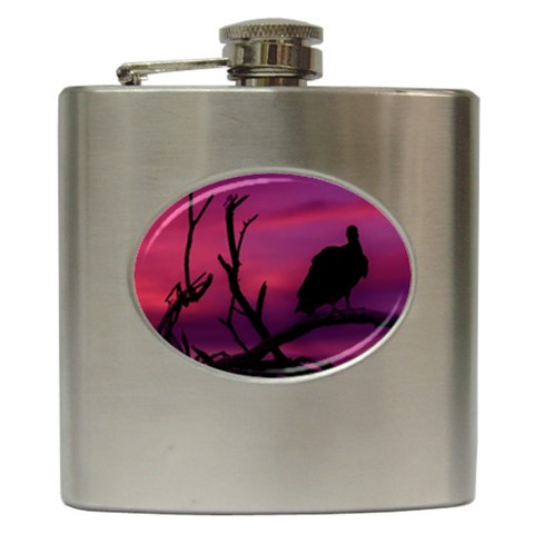 Vultures At Top Of Tree Silhouette Illustration Hip Flask (6 oz)