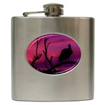 Vultures At Top Of Tree Silhouette Illustration Hip Flask (6 oz) Front