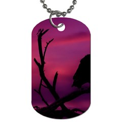 Vultures At Top Of Tree Silhouette Illustration Dog Tag (Two Sides)