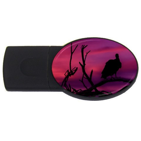Vultures At Top Of Tree Silhouette Illustration USB Flash Drive Oval (2 GB)