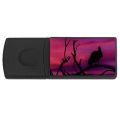 Vultures At Top Of Tree Silhouette Illustration USB Flash Drive Rectangular (2 GB)