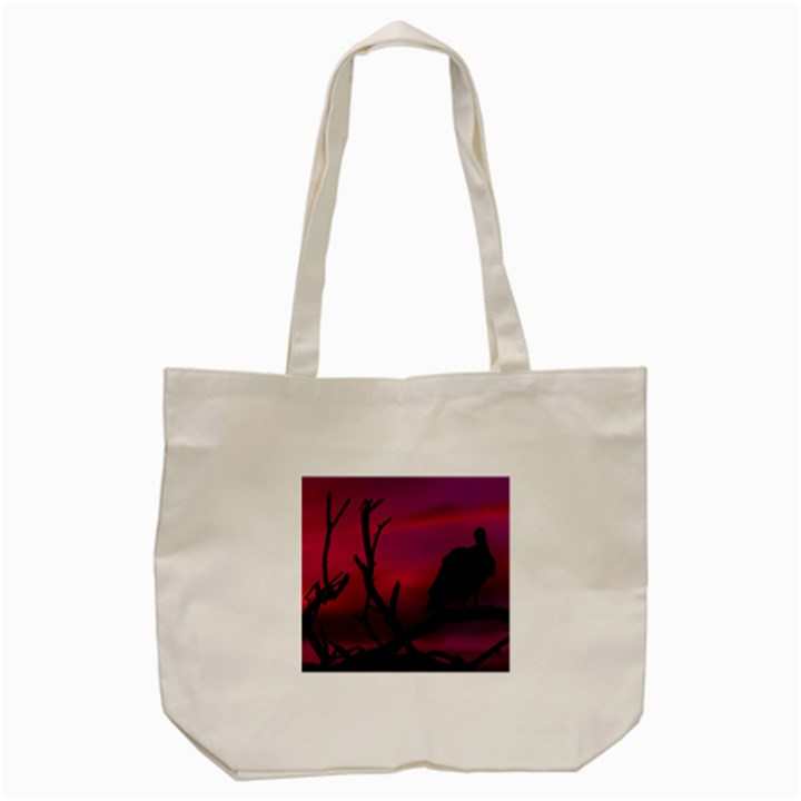 Vultures At Top Of Tree Silhouette Illustration Tote Bag (Cream)