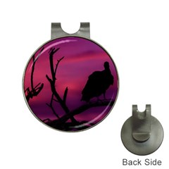 Vultures At Top Of Tree Silhouette Illustration Hat Clips with Golf Markers