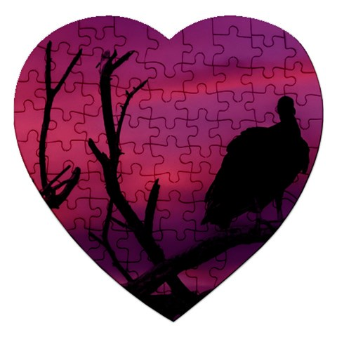 Vultures At Top Of Tree Silhouette Illustration Jigsaw Puzzle (Heart)