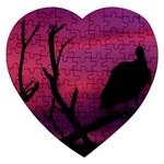 Vultures At Top Of Tree Silhouette Illustration Jigsaw Puzzle (Heart) Front