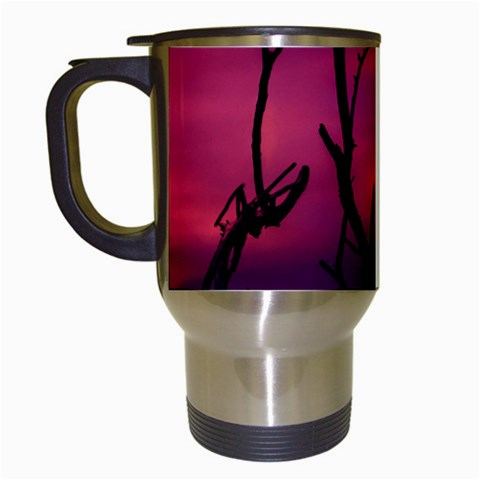 Vultures At Top Of Tree Silhouette Illustration Travel Mugs (White)