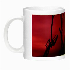 Vultures At Top Of Tree Silhouette Illustration Night Luminous Mugs